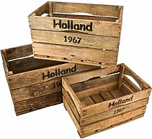 Holzkisten 3er Set Holland 67 Motiv Vintage-Used Design braun Weinkisten Landhaus Kolonial