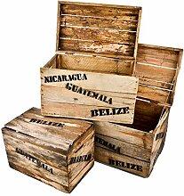 Holzkisten 3er Set Süd Amerika Motiv Vintage-Used Design Landhaus Kolonial