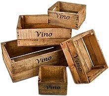 Holzkisten 5er Set Vino Wein Motiv Vintage-Used Design Weinkisten Landhaus Kolonial