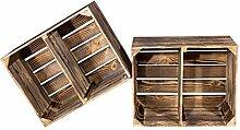 Holzkisten-Weinkisten / Regal aus Obstkisten mit Zwischenboden (3er Set - Geflammte Regalkiste - quer 50x40x30cm)