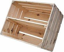 Holzkisten-Weinkisten / Regal aus Obstkisten mit Zwischenboden (3er Set - Helle Regalkiste 50x40x30cm)