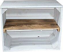 Holzkisten-Weinkisten / Regal aus Obstkisten mit Zwischenboden (3er Set - Weiße Regalkiste mit geflammten Brett)