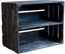 Holzkisten-Weinkisten / Regal aus Obstkisten mit Zwischenboden (3er Set - Schwarze Regalkiste 50x40x30cm)