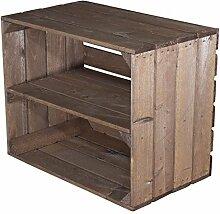 Holzkisten-Weinkisten / Regal aus Obstkisten mit Zwischenboden (3er Set - Gebeizte Regalkiste 50x40x30cm)