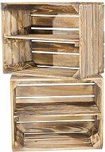 Holzkisten-Weinkisten / Regal aus Obstkisten mit Zwischenboden (3er Set - Geflammte Regalkiste 50x40x30cm)