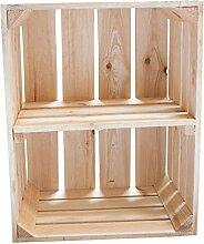 Holzkisten-Weinkisten / Regal aus Obstkisten mit Zwischenboden (3er Set - Helle Regalkiste -quer- 50x40x30cm)
