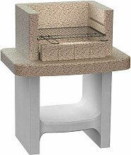 Holzkohle-Standgrill aus Beton mit Ablage