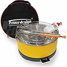 Holzkohle Tischgrill MAYON - Rauchfrei - v. Feuerdesign - Gelb, im Spar Pack mit Grill-Zubehör