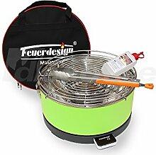 Holzkohle Tischgrill MAYON - Rauchfrei - v. Feuerdesign - Grün, im Spar Pack mit Grill-Zubehör