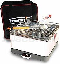 Holzkohle Tischgrill TEIDE - Rauchfrei - v. Feuerdesign - Cremeweiss, im Spar Pack mit Grill-Zubehör
