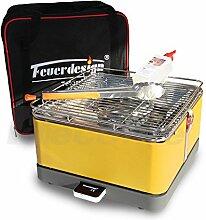 Holzkohle Tischgrill TEIDE - Rauchfrei - v. Feuerdesign - Gelb, im Spar Pack mit Grill-Zubehör