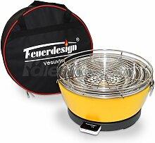 Holzkohle Tischgrill VESUVIO rauchfrei v. Feuerdesign - Gelb - mit Tasche und wiederaufladbaren Akku