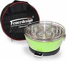 Holzkohle Tischgrill VESUVIO rauchfrei v. Feuerdesign - Grün - mit Tasche und wiederaufladbaren Akku