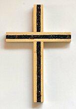 Holzkreuz mit Bernsteinfüllung,Buche,ca.15x10cm
