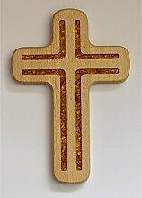 Holzkreuz mit Bernsteinfüllung,Buche,ca.20x13cm
