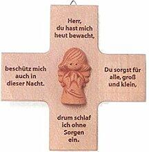 Holzkreuz mit Engel aus Ton und Gebetsmotiv ca. 12