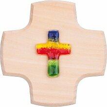 Holzkreuz mit Glas-Kreuz Regenb. 9x9cm