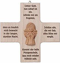 Holzkreuz natur mit Engel aus Ton und Gebetsmotiv