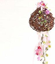 Holzkugel hängend mit Seidenblumen Orchidee lila