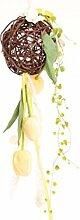 Holzkugel hängend mit Seidenblumen Tulpen Top