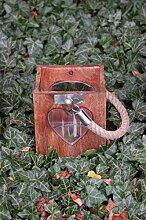 Holzlaterne mit Seilgriff und Glaseinsatz 14cm