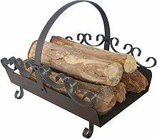 Holzlege aus Stahl in Gussgrau mit verzierung ca.