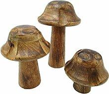 Holzpilz Pilz (10/15/20cm 3 er Set) Pilz aus Holz
