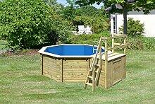 Holzpool Set 4,00 x 1,20 m Holzschwimmbecken mit Sonnendeck