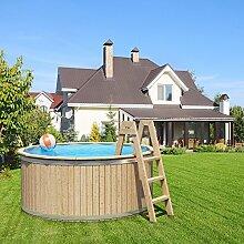 Holzpool von ISIDOR, Swimmingpool CARL mit Poolfolie und Vollholzleiter 240x107cm