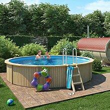 Holzpool von ISIDOR, Swimmingpool CASPIAN mit Stahlwand inkl. Filterpumpe 460x90cm (Ø 460 mit Holz / Edelstahlleiter) (Ø 460 mit Vollholzleiter)