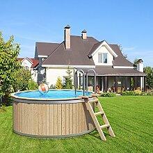 Holzpool von ISIDOR, Swimmingpool CLEMENS mit Edelstahl-Holzleiter 240x107cm