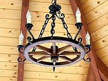 Holzrad Hängelampe Wagenrad Kutsche Deckenlampe