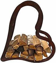 Holzregal Herz ca.100 cm aus Edelrost Metall Kaminholzregal Metallregal Brennholz