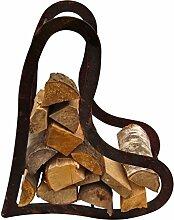 Holzregal Herz ca.50cm aus Edelrost Metall Kaminholzregal Metallregal Brennholz