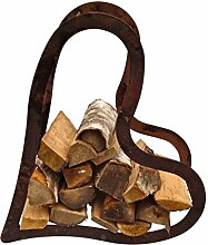 Holzregal Herz ca.75 cm aus Edelrost Metall Kaminholzregal Metallregal Brennholz