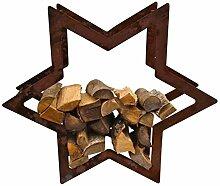 Holzregal Stern ca.100cm aus Edelrost Metall Kaminholzregal Metallregal Brennholz