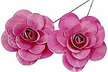 Holzrosen Erika pink weiß Gewaschen 12 Stück