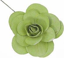 Holzrosen Kiwi grün weiß Gewaschen 12 Stück