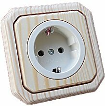 Holzschalter Lichtschalter/Steckdosen Holz Fichte natur lackiert 1-fach Steckdose Topf beige