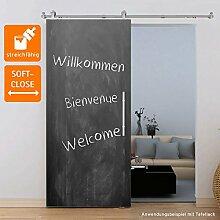 Holzschiebetür Schiebetür Zimmertür Tür 900x2065 mm MDF grundiert streichfähig offene Laufschiene mit Softclose und Stangengriff
