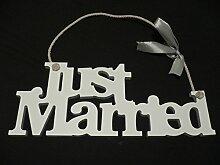 """Holzschild """"Just Married"""" oder Mr und Mrs"""", Hochzeitsdeko JUST MARRIED"""