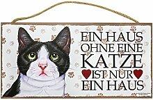Holzschild Tierschild Deko Ein Haus Ohne Katze