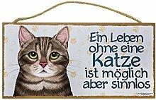 Holzschild Tierschild Deko Ein Leben ohne Katze