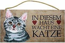 Holzschild Tierschild Deko Katze wach