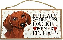 Holzschild Tierschild Hund Deko Dackel