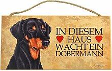 Holzschild Tierschild Hund Deko Dobermann