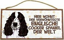 Holzschild Tierschild Hund Deko Englischer Cocker Spaniel