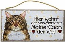 Holzschild Tierschild Hund Deko Maine Coon