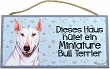 Holzschild Tierschild Hund Deko Miniatur Bullterrier