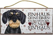 Holzschild Tierschild Hund Deko Rauhaardackel